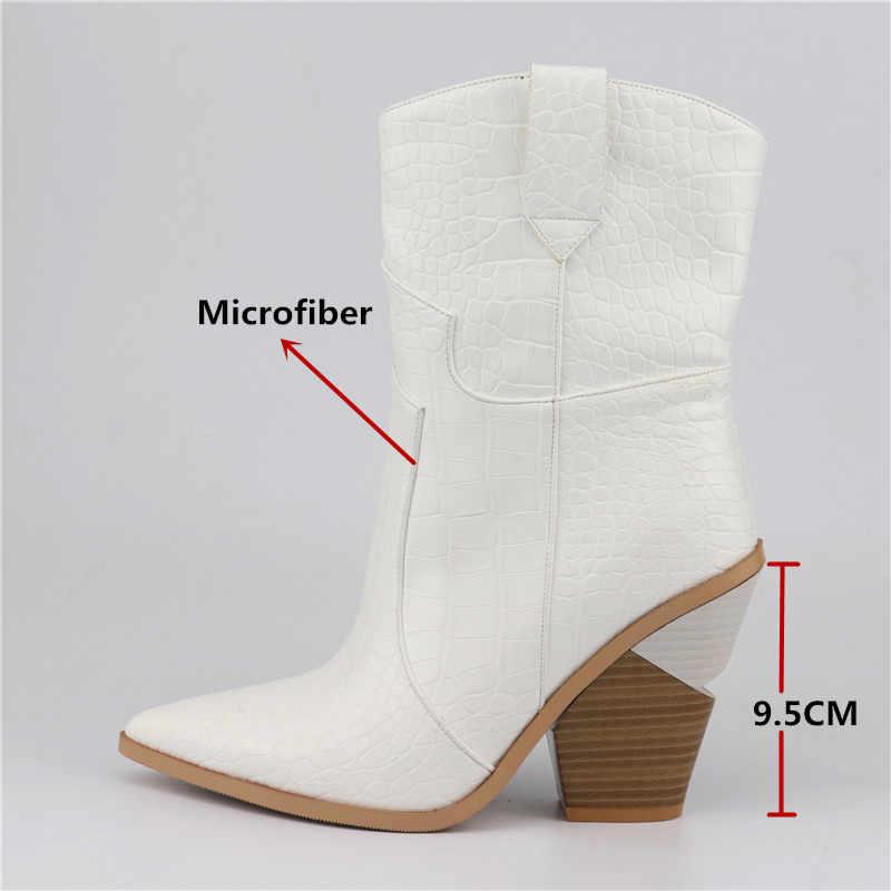 FEDONAS Yeni Marka Kadın Orta buzağı Botları Yüksek Topuklu Sivri Burun Gece Kulübü parti ayakkabıları Kadın 2019 Kaliteli Mikrofiber Deri çizme