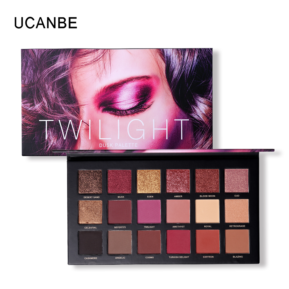 купить UCANBE Brand Matte Shimmer Shining Eyeshadow Palette Nude Makeup Glitter Pigment Smoky Eye Shadow Powder Waterproof Cosmetic kit онлайн