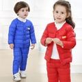 Nova Chegada Do Bebê Meninas Meninos Inverno Para Baixo Conjuntos Casaco + Calças Crianças Conjuntos de Roupas Crianças Da Menina do Algodão Para Baixo Casaco Terno