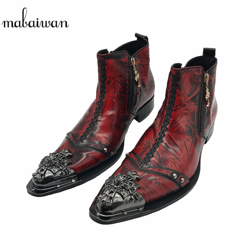 Mabaiwan Plicated Leather Men Ankle Boots Metal Pointed Toe Mens Dress Shoes Rivet High Top Military Cowboy Boots Man Footwear fashion genuine leather mens ankle boots pointed toe lace up wedding dress shoes safety shoes men military boots mans footwear