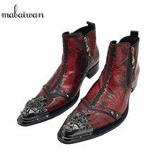 Mabaiwan складчатый кожа мужские полусапоги из металла Мужские Выходные туфли с острым носом с заклепками высокие Военное Дело ковбойские ботинки мужская обувь