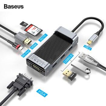 Baseus USB C HUB Typ C zu HDMI VGA RJ45 USB3.0 HUB Multi USB 3.0 Typ-c HUB Power Adapter für MackBook Pro Air USB-C Splitter