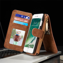 Multifunction Wallet Genuine Leather Cases For iphone 7 7Plus / 6 6s Plus / se 5s s Case Zipper Purse Pouch Lady Handbag Cover