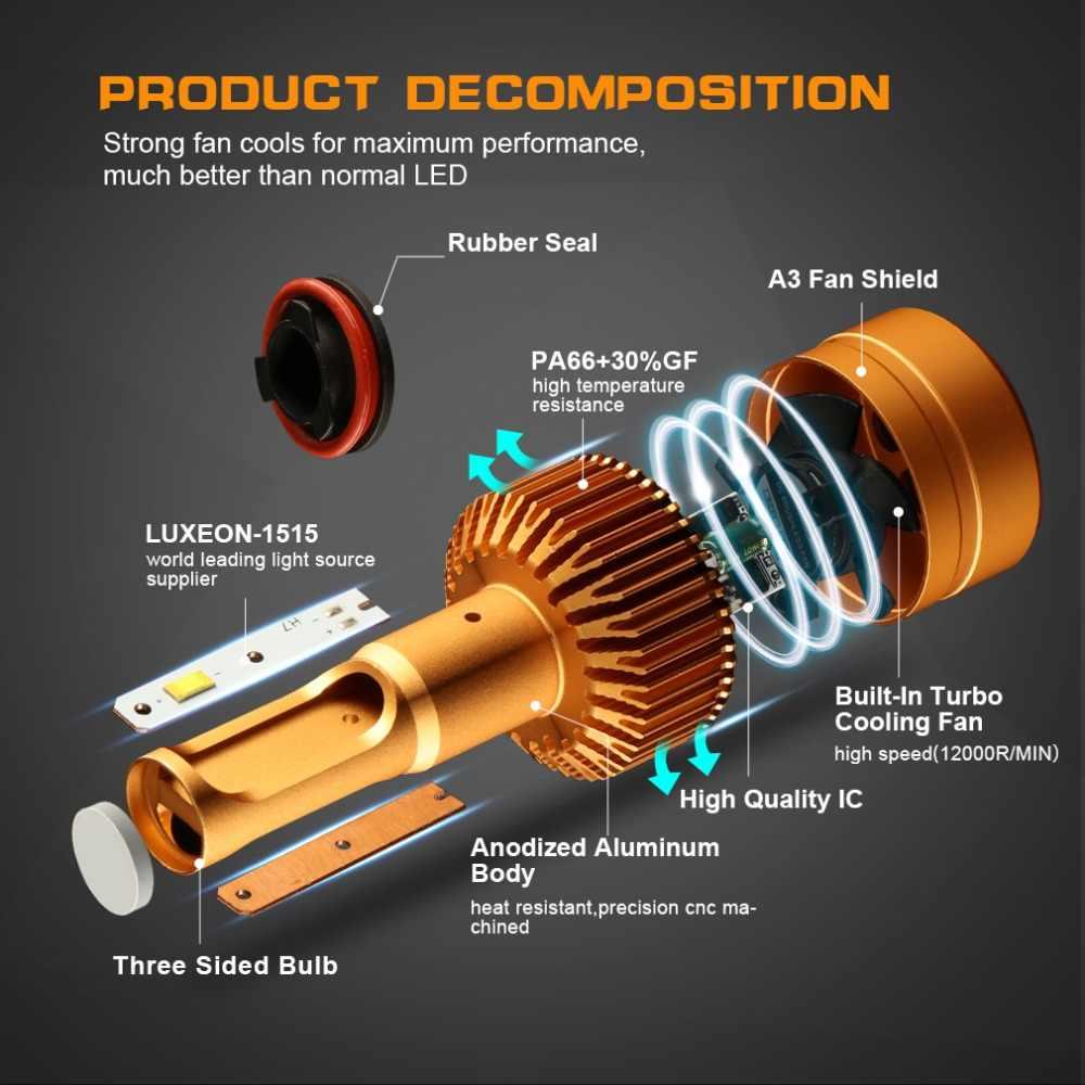 S&D 2Pcs 9006 HB4 LED Headlight Car Bulbs with 1515 Chips 12000Lm 12V Automobile LED Kits Auto Led Head Lamp Fog Lights