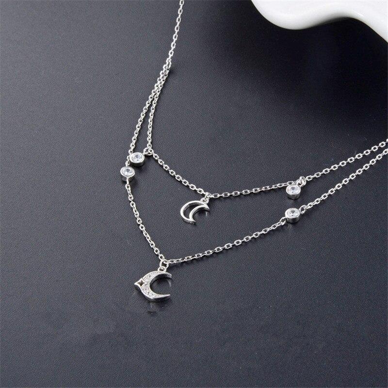 Deux couches 925 en argent sterling chaîne printemps fermoir lune chokers collier pendentif bijoux pour dames de mode