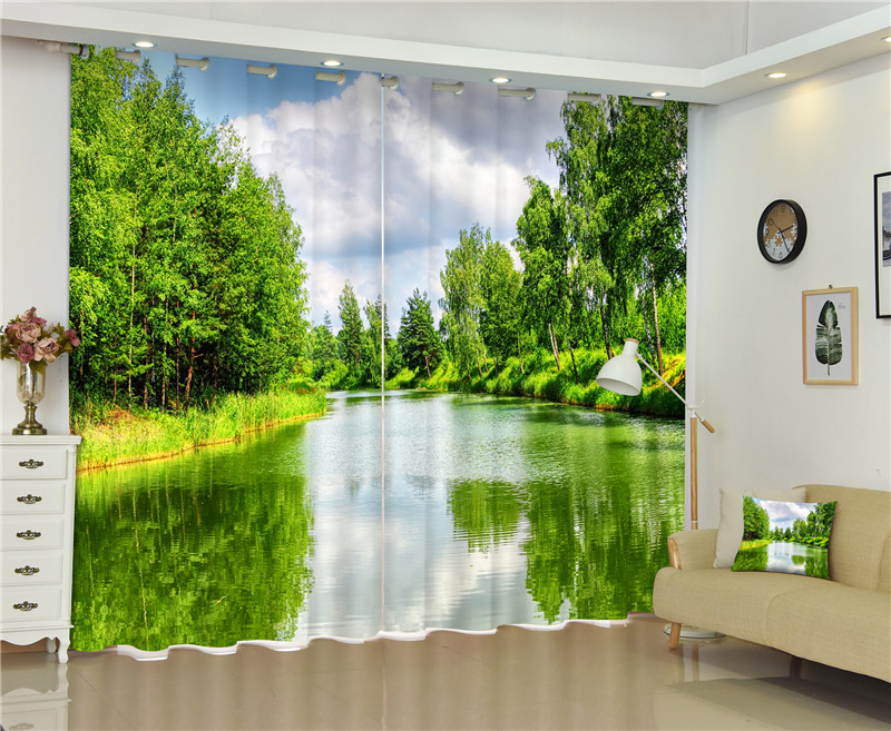 Vert arbre 3D photo Blackout Rideaux Pour salon Literie chambre Home Decor Tapisserie Mur Tapis Rideaux Cotinas