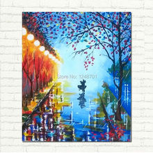 Abstract art- Let it rain – Acrylic Contemporary Art – Dancing Couple – Night Rain oil Painting – Dancers Palette Knife Street