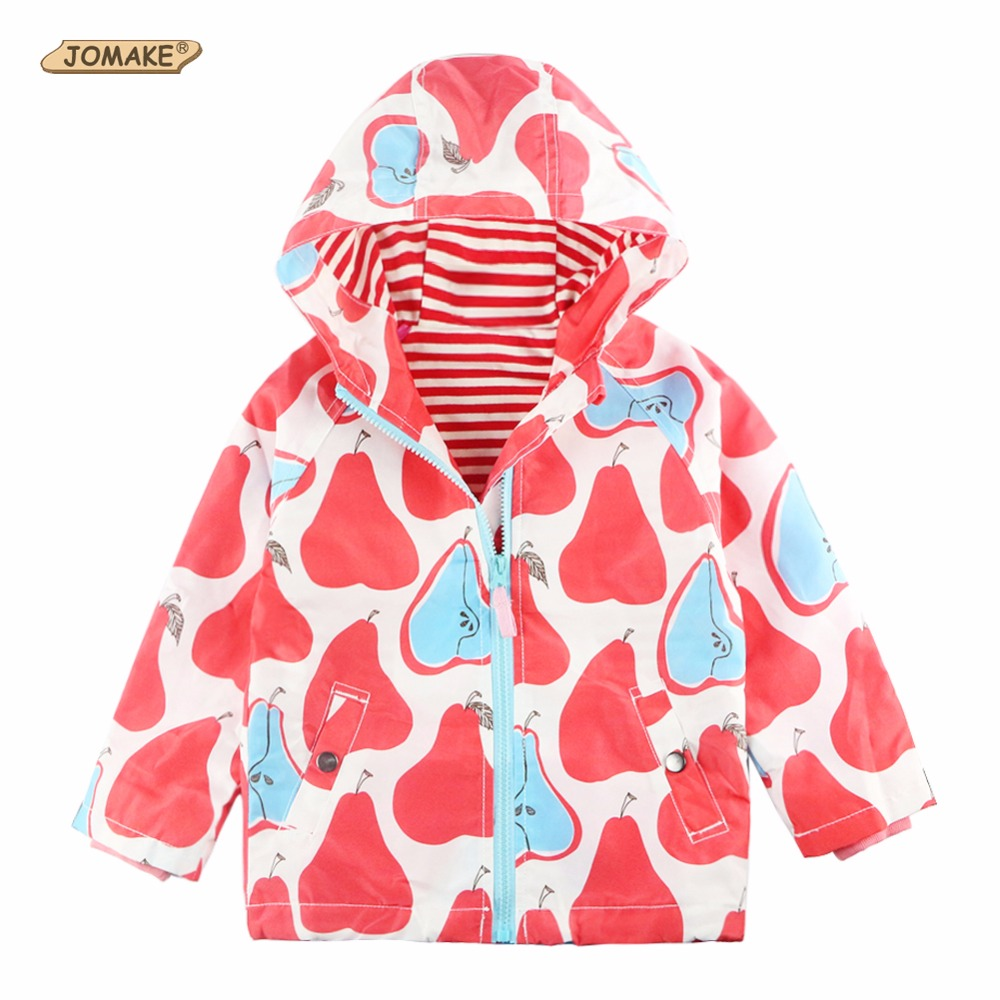 Jackets For Girls Windbreaker Kids Coat Trench Brand Hooded Pears Pattern Print Fashion Waterproof Outerwear To Children 2-12Yrs