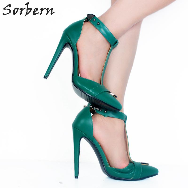 cee4d8b4f92 Sorbern Green T-Strap Pointed Toe Heels Shoes Sexy High Heels Party Shoes  For Women