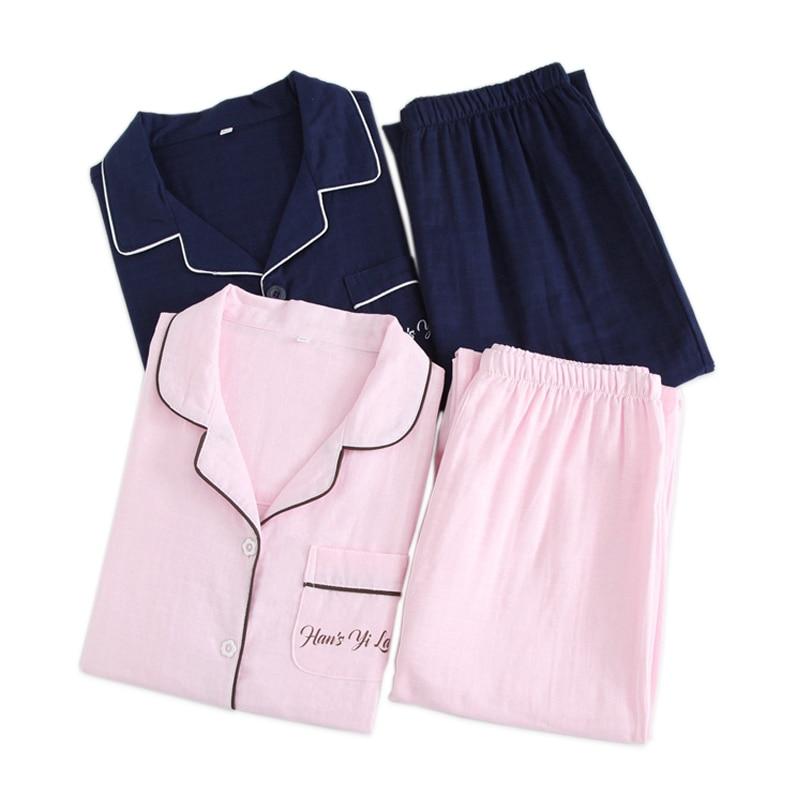 New Couples   pajamas     sets   women 100% gauze cotton summer pure color simple pijamas women indoor homewear pijamas mujer plus size
