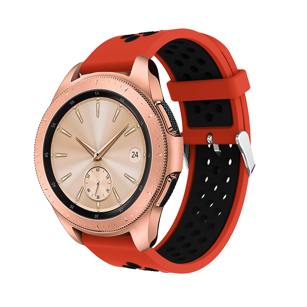 20mm strap For samsung Galaxy 42mm watch band Replacement sport Silicone Round hole ventilation For samsung Gear S2 watch Strap in Watchbands from Watches
