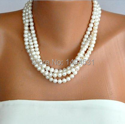 Wholesale Pearl Jewelry Ivory Freshwater Pearl Necklace Brides Bridesmaids Gift Special Occasion Handmade XZN156
