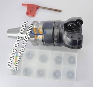 New BT40 M16 FMB22 60L +TRS8R 63-22-4T Face end mill +10pcs 8R RDMX1604MOTN carbide insert CNC milling lathe