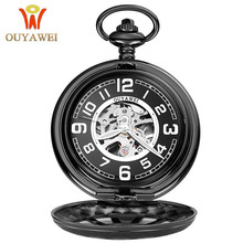 цены  2017 Antique Skeleton Mechanical Pocket Watch gift Men Chain Necklace Fashion Casual Pocket & Fob Watches OUYAWEI Luxury watch