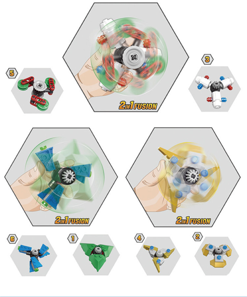 kazi 6pcs/Set DIY fidget spinner Buildable Spiner Plastic Hand Rotating Beblade block For Kids Adult Anti Stress drop shipping