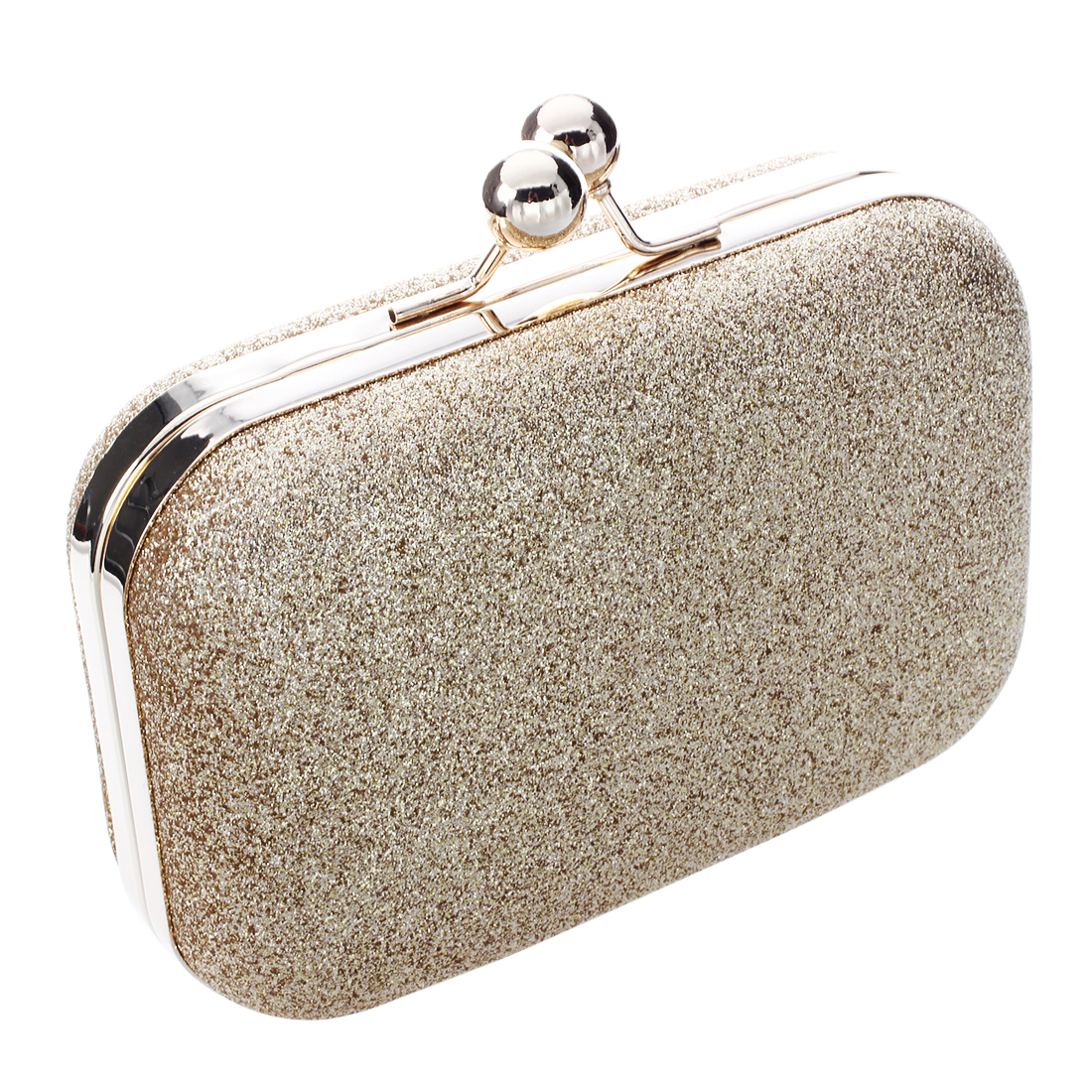 Hot Fashion Clutch Hand Bag Women PU Leather Evening Party Shoulder Bag Gold Bling Gold Box Shaped Bag with Metal Chain  new fashion women party clutch bag pu leather hollow metal bow buckle evening bag female banquet handbag with shoulder chain