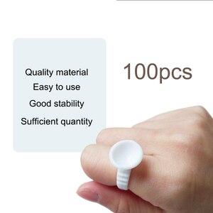 Image 4 - 그리드 속눈썹 확장 접착제 접착제 홀더 팔레트와 100pcs 처리 문신 안료 홀더 반지