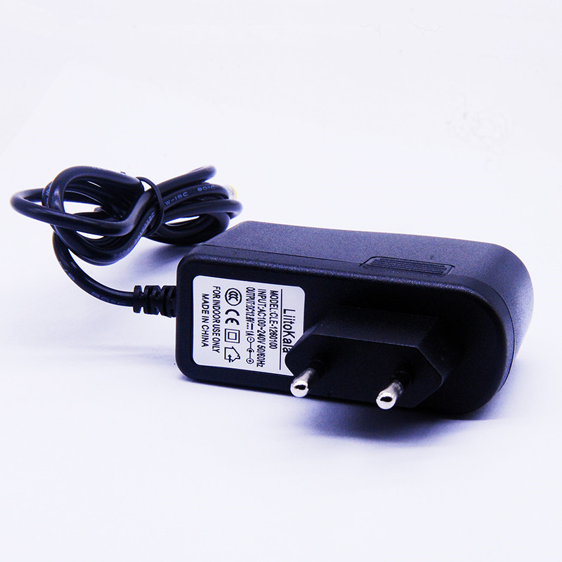 LiitoKala 12V charger 12.6V 1A EU dc power adaptor 5.5*2.1mm cable lithium-ion battery LED lamps power charger
