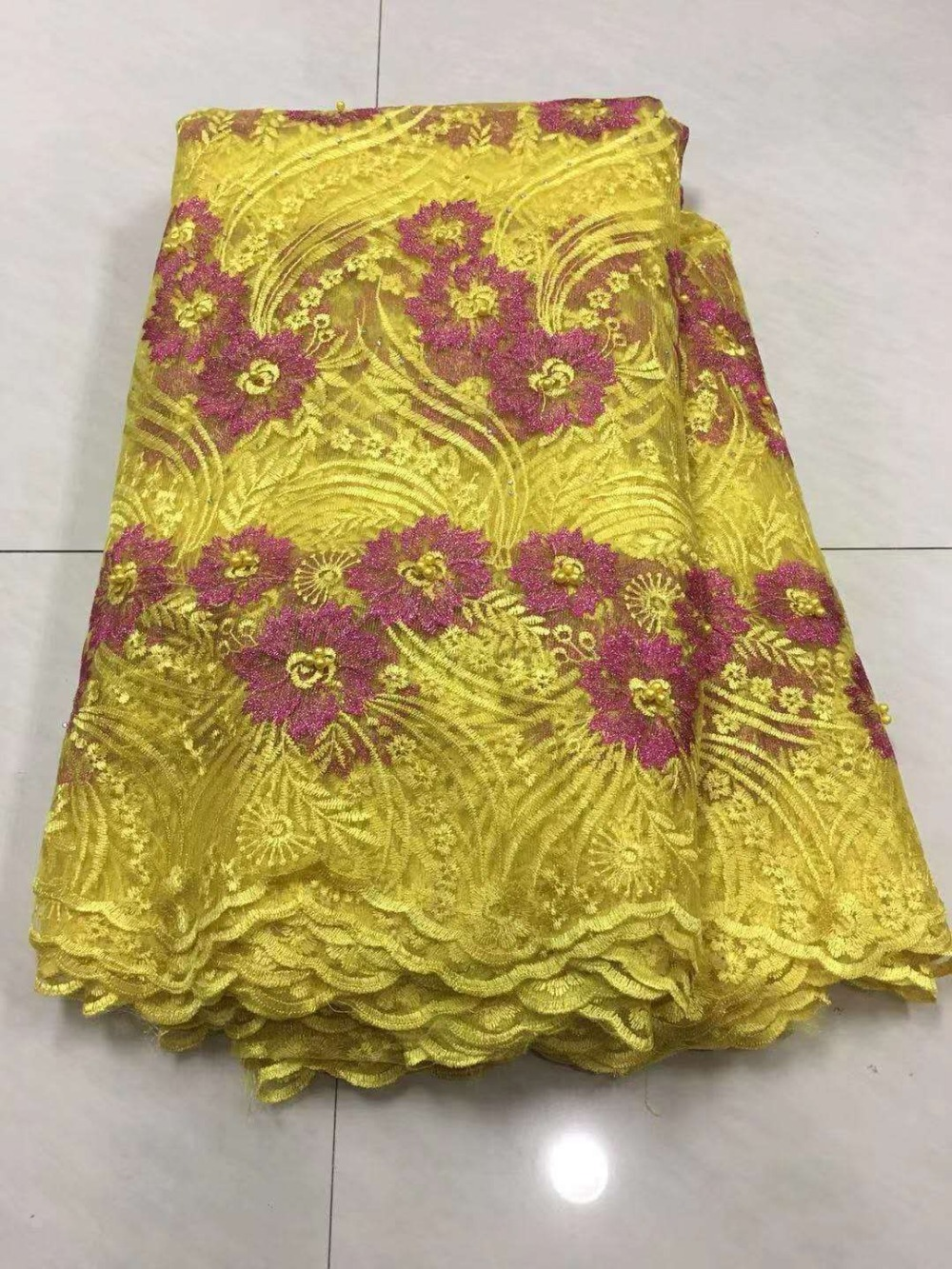 2019 African Laces Fabrics Embroidered Nigerian 3D Guipure French Cord Lace Fabric High-quality African French Net Lace Fabric (6)