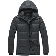 LESMART Winter Men's Coat Jacket White Duck Down Solid Thicken Leisure Fashion Casual Wool Hooded Outdoors Parka Outerwear