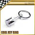 Car-styling JDM Universal Piston Aluminium Chrome Metal Keyring Key Ring Chain