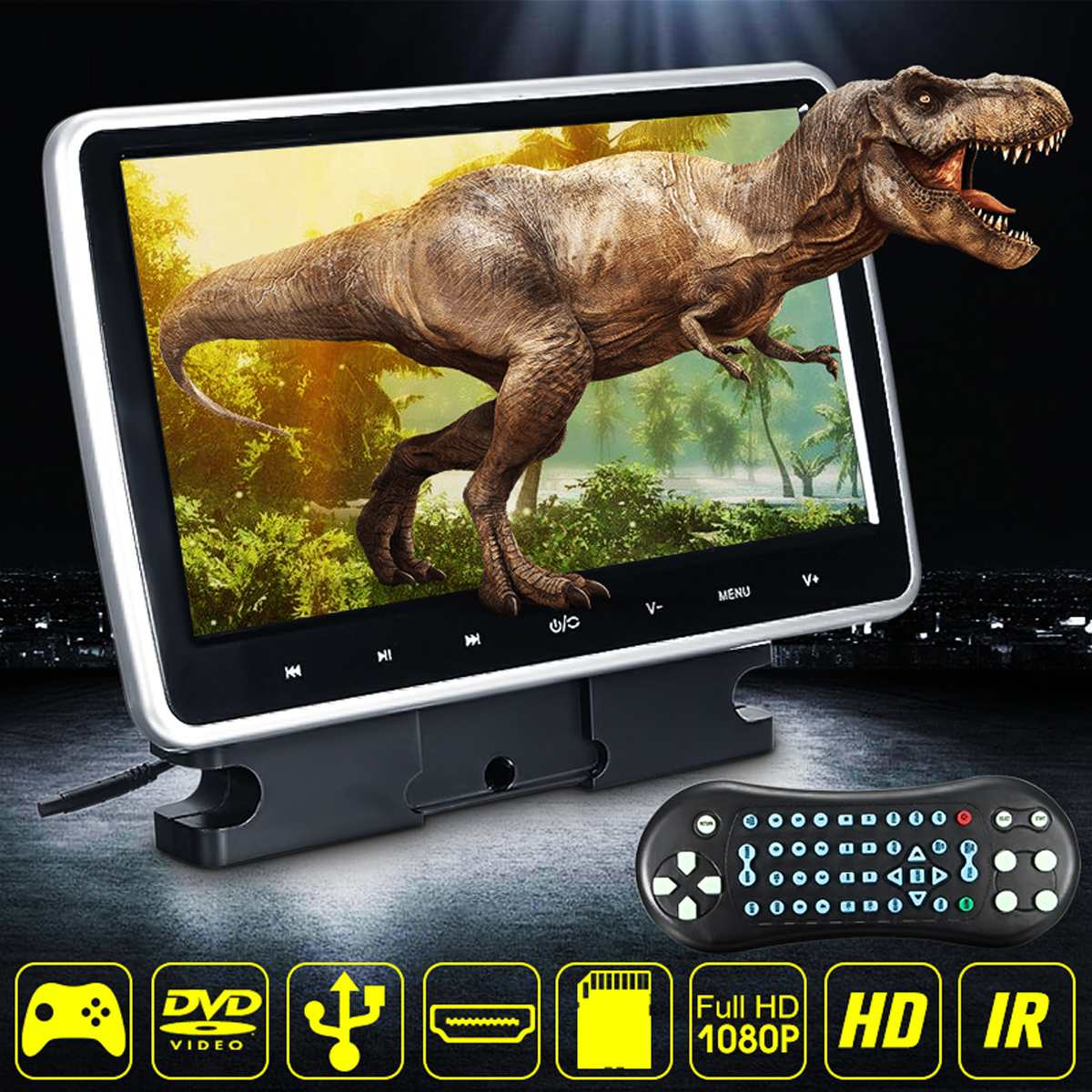 Autoleader 10 inch Car DVD Player Active HD Touch Headrest Monitor Game Handle LCD 1024X600 Portable Car DVD Player 9 8 inch lcd screen digital multimedia portable evd dvd with tv avi cd r rw peg 4 game function 270 degree rotation hd player