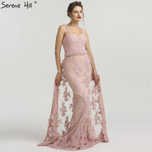 SERENE HILL Pink Shoulder Strap Lace Mermaid Party Dresses