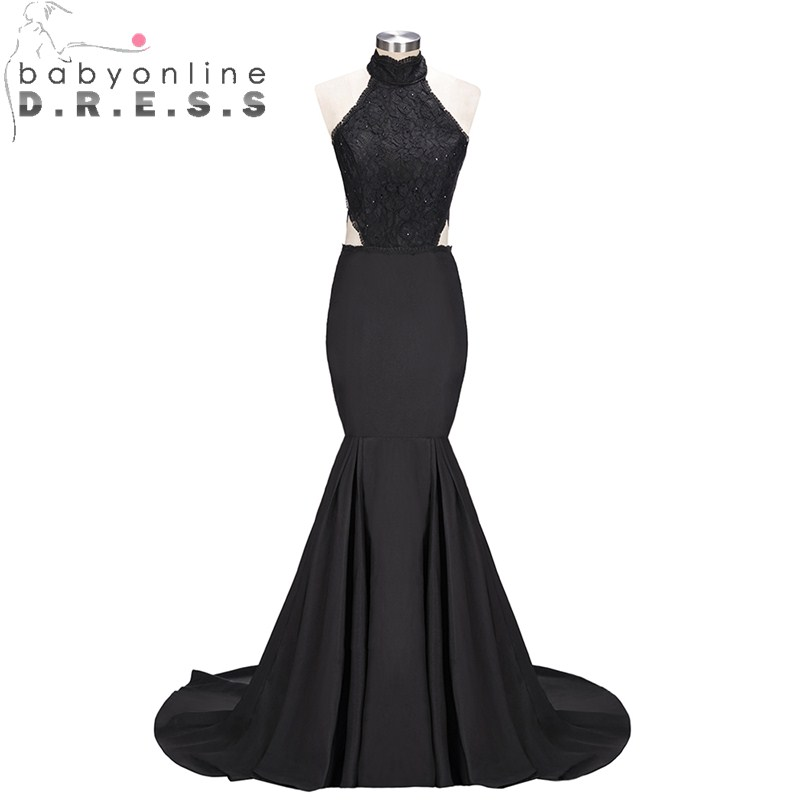 Sexy Black Backless Mermaid Lace   Prom     Dresses   Applique Halter Neck Evening Party Gowns Robe De Soiree Longue