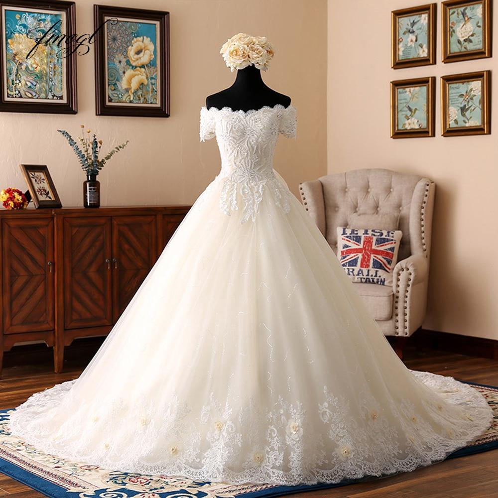 Fmogl Short Sleeve Boat Neck Vintage Wedding Dresses 2019