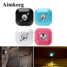 Aimkeeg LED Sensor Night Light PIR Infrared Motion Activated Sensor Lamp Battery Powered Wall Lamp Cabinet Stairs Light