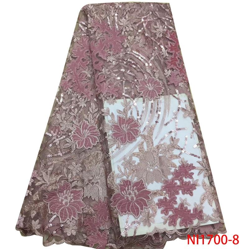 Últimas flores patrón terciopelo encaje tela alta calidad lentejuelas encaje tela francés tul malla encaje para vestido de fiesta de boda NI1700-in encaje from Hogar y Mascotas    1
