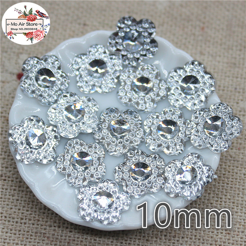 200pcs Clear Flower Acrylic Flat Back Cabochon Art Supply Decoration Charm Craft DIY 10mm