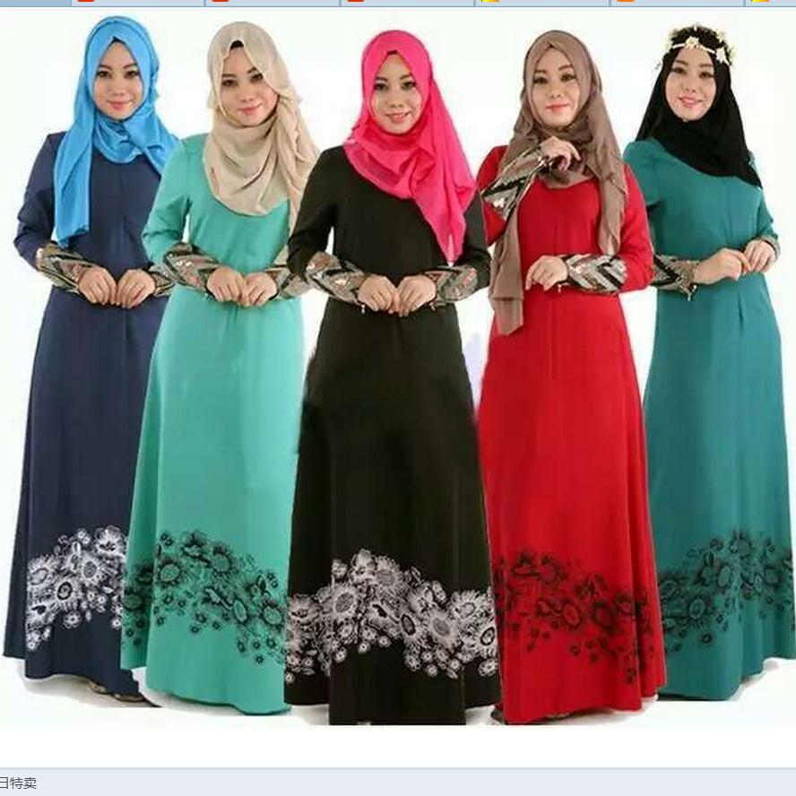 Malaysian Women Dress Fashion Dresses Anneyep Printed Flowers Kaftan Muslim Maxi