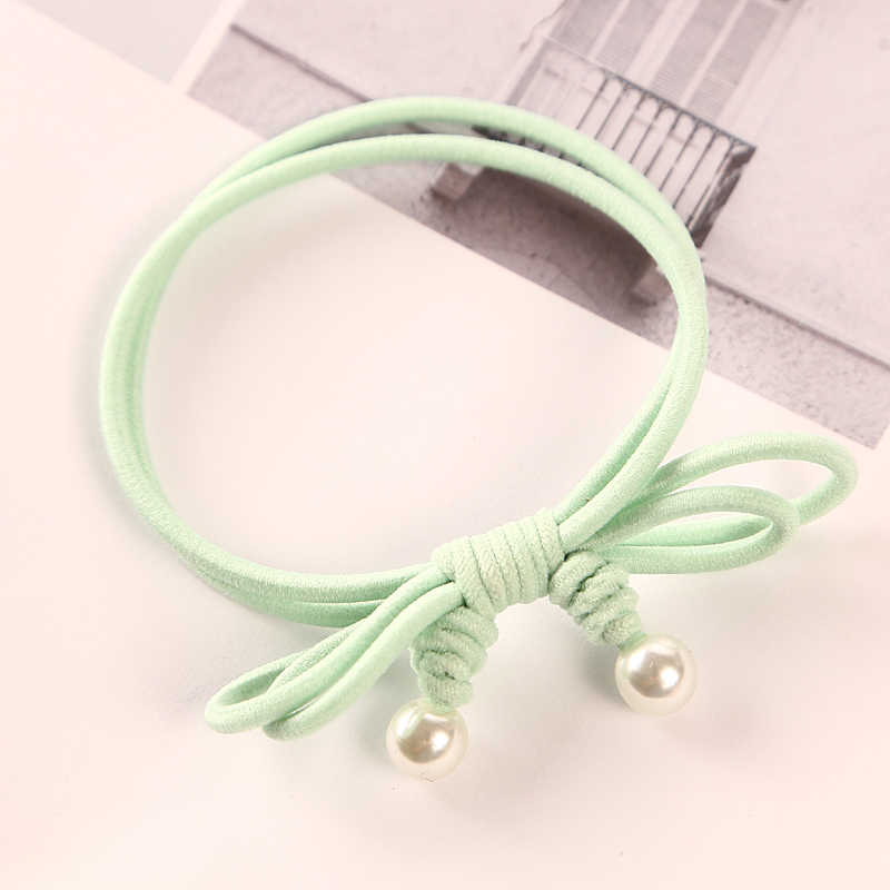 1PC New Handmade Double Knotted Pearl Elastic Rubber Bands Headwear Women Girl Ponytail Tie Gum Hair Rope Hair Accessories