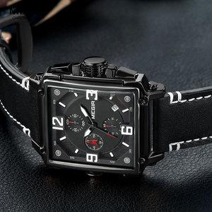 Image 3 - Megir relógio de pulso masculino esportivo, cronógrafo, relógio de pulso para homens, couro do exército, quadrado, quartzo, cronógrafo, relógio masculino 2061 preto preto