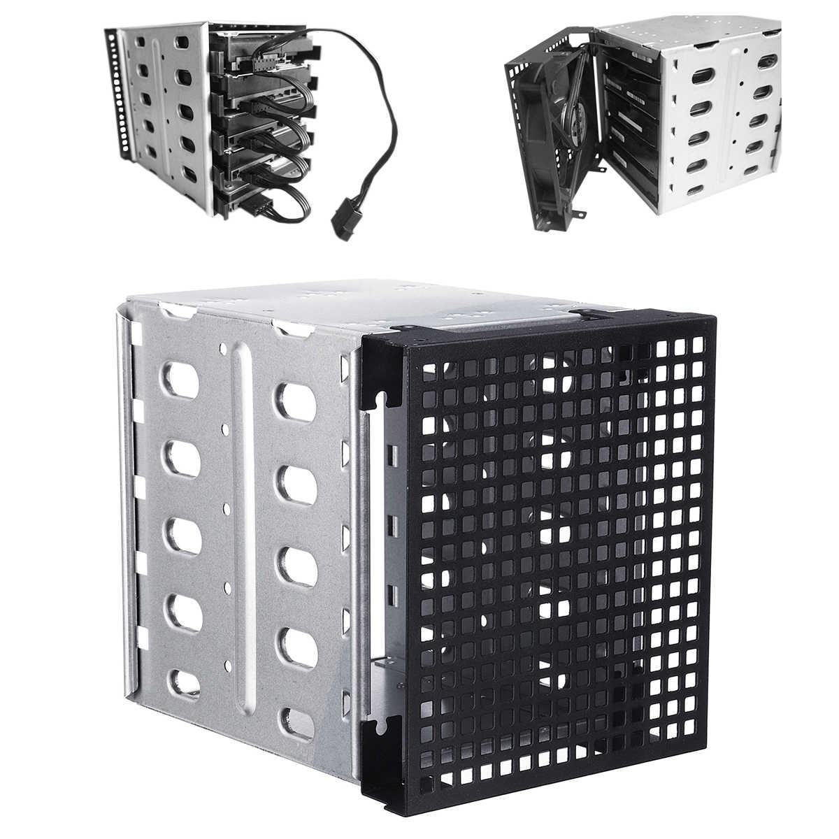 "NEW 5.25"" to 5x 3.5"" SATA SAS HDD Cage Rack Hard Drive Tray Caddy Converter with Fan Space"
