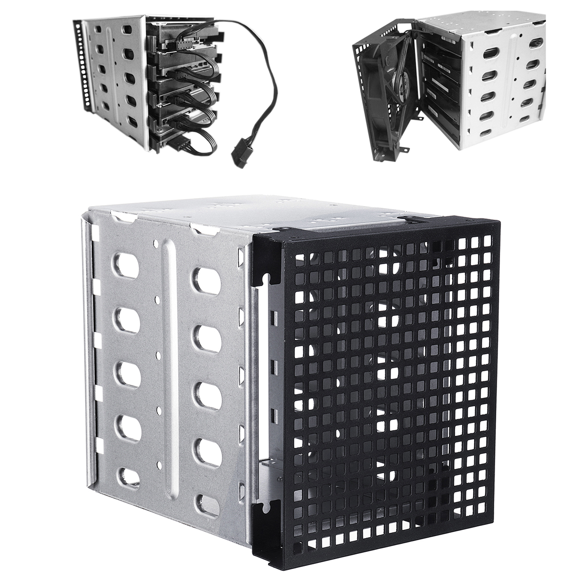 NEW 5.25 to 5x 3.5 SATA SAS HDD Cage Rack Hard Drive Tray Caddy Converter with Fan Space 5 25 to 3 5 sata sas hdd hard drive cage adapter tray caddy rack bracket for 3x 5 25 cd rom slot internal or external pc diy