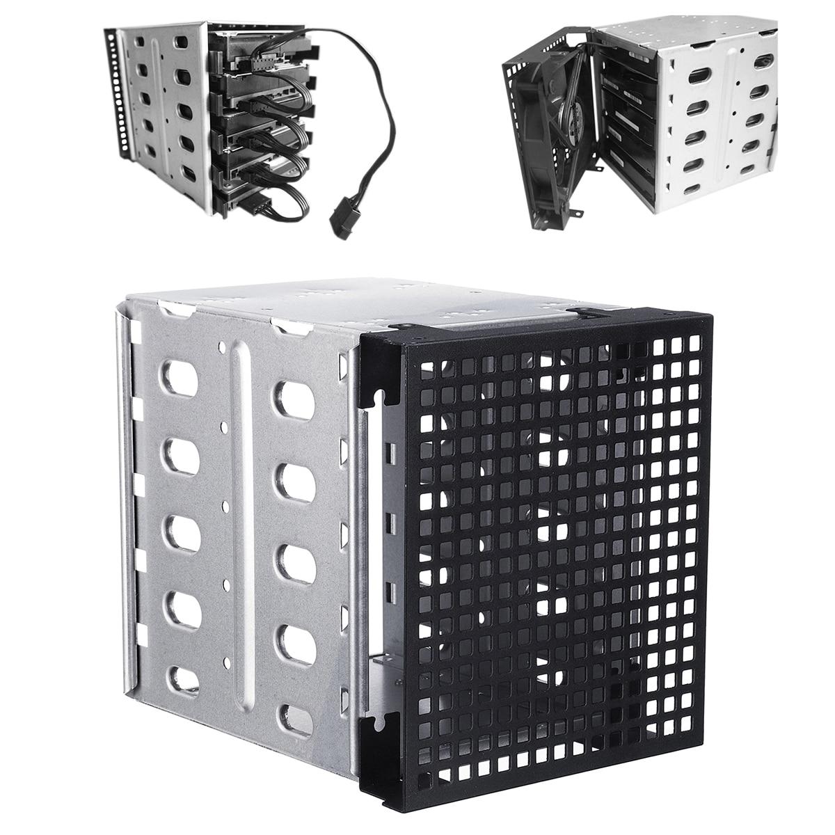 Новый 5,25 дюймов до 5x3,5 дюймов SATA SAS HDD клетка стеллаж для выставки товаров лоток жесткого диска HDD Caddy адаптер конвертер с вентилятором простр...