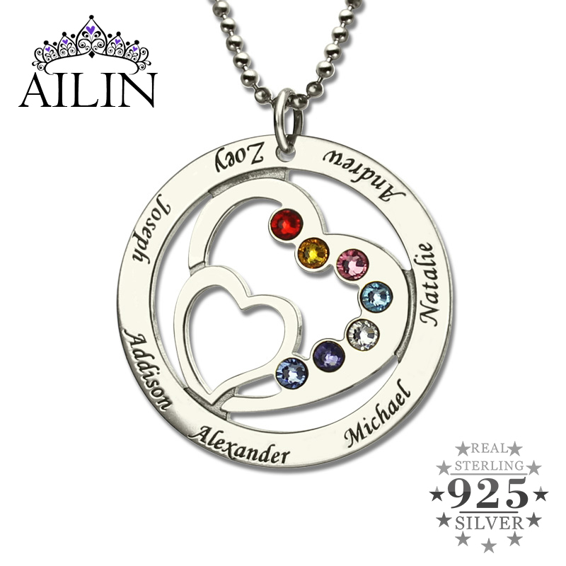 Wholesale Heart in Heart Birthstone Family Name Necklace Personalized Mother Necklace Silver Birthstone Necklace Gift for Mother jd коллекция синий бар