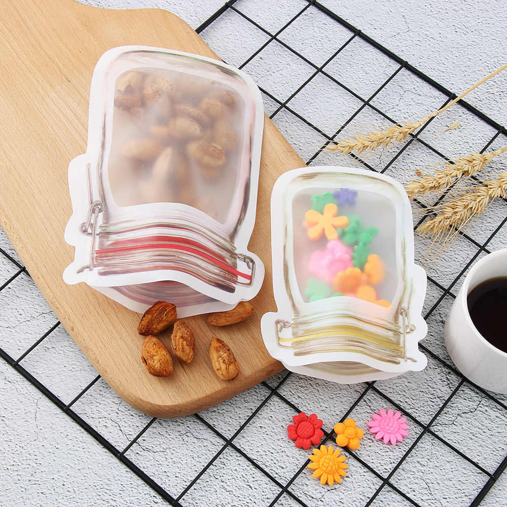 5PCS Mason Jar Zipper Pouch Reusable Snack Saver Storage Bag Leakproof Smell-proof Food Sandwich Storage Bags for Travel Kids