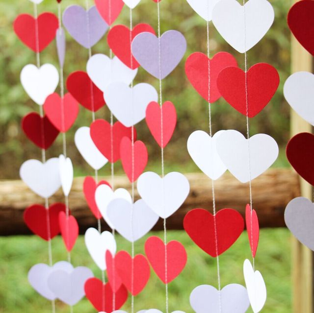 2pieceslot wedding decoration red white heart garland valentines day decor paper garland - Valentines Day Decor