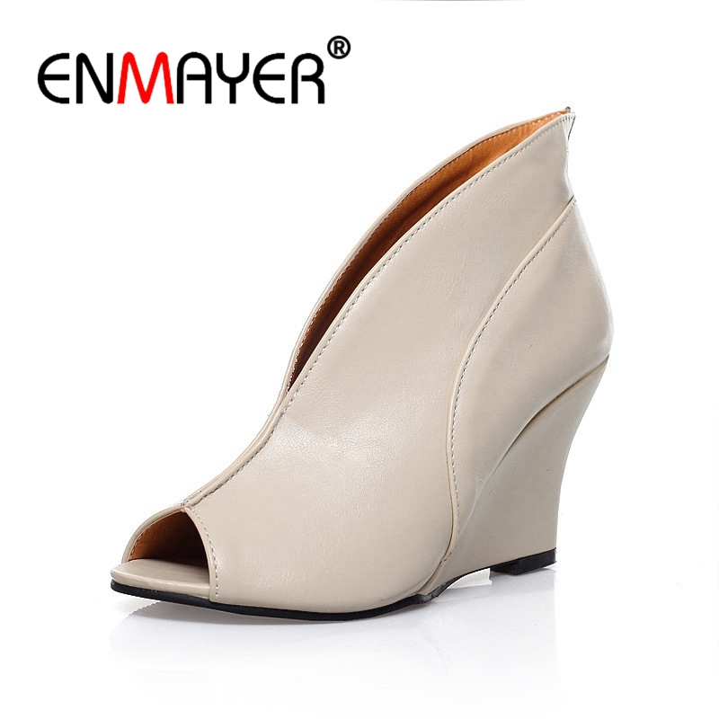 ENMAYER Women Super High heels Sandals Casual high heel wedges Slip on Lady shoes Cover heel sandals Big size 34 43 CR521 in High Heels from Shoes