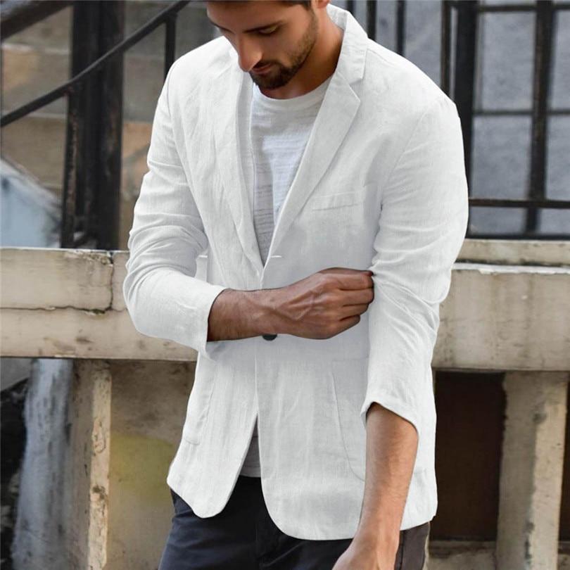 New 2019 Summer Men Slim Fit Linen Blend Casual Blazer Pocket Solid Long Sleeve Suits Blazer Jacket Outwear #E09 (28)