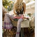 Mais recente Moda Vtg BOHO Hippie Cigana Tie Dye Calças Fundo Sino calças Soltas Perna Larga Queimado Longo para as mulheres calças Das Senhoras