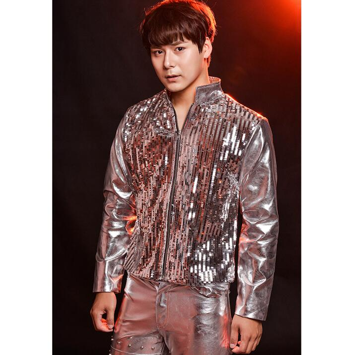 Fashion singer men's sequins leather coats silver paillette mens motorcycle leather jackets clothing drum rack male costumes