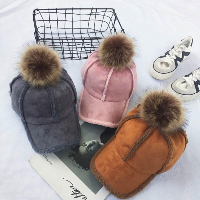 Inverno primavera camurça boné de beisebol grande pele do falso pompom grosso mais quente feminino chapéus meninas senhora feminino ajustável snapback chapéu bonés