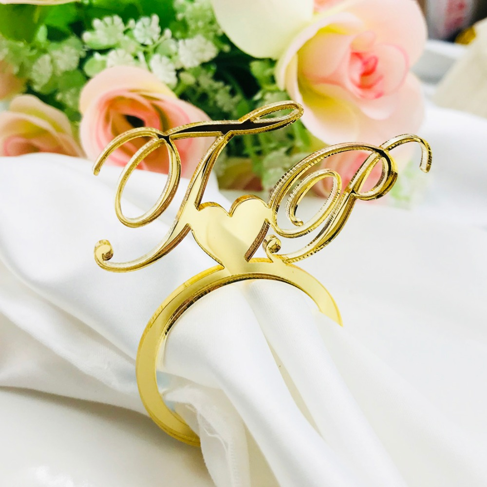 Personalized Acrylic Wood Gold Silver Laser Cut Napkin Rings with Heart Diamond For Wedding Party Table Decoration Birthday party (10)
