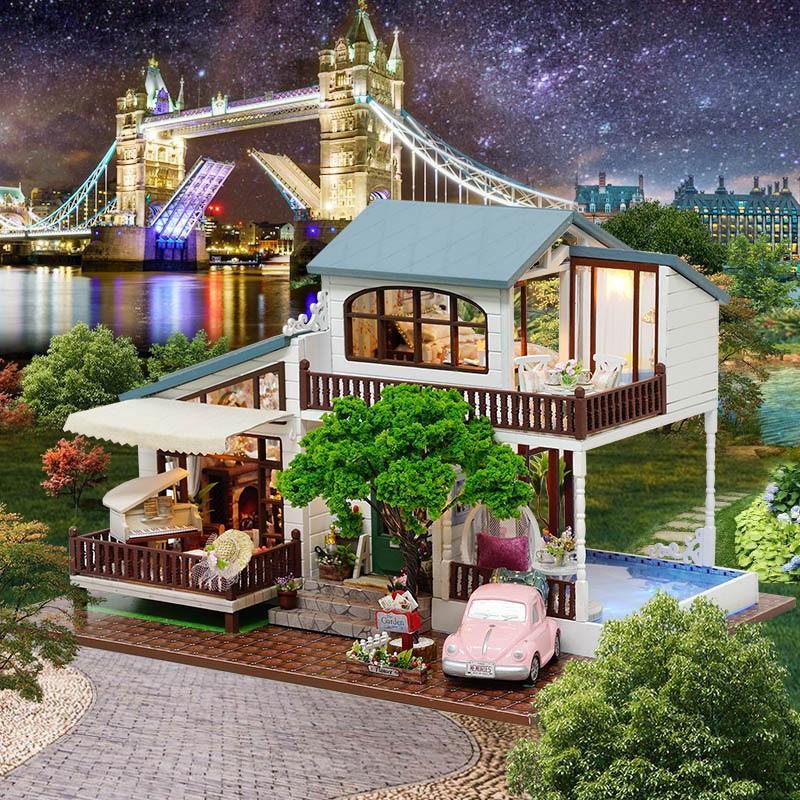 Bonito Famílias Casa DIY Casa de Boneca de Férias London Casa Modelo Montado À Mão Presentes de Ano Novo para Crianças Juguetes