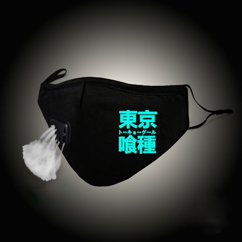Glow In Dark Fashion Mouth Mask Tokyo Ghoul Kaneki Ken Cosplay Cotton Face Mask Anti PM2.5 Dust Filter Muffle Valved Respirator
