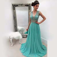 2017 Emerald Green Beading Long Prom Dresses Party Evening Gown Dress V Neck Chiffon Zipper Back